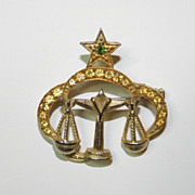 Vintage St. Labre Gold Tone with Rhinestones Libra Zodiac Sign Brooch