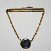 Vintage Swank Gold Tone Tie Clip Chain with Navy Soldier Intaglio