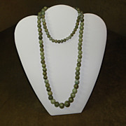 Vintage 1960's Iranian Jadeite Jade Marbled Long Strand Necklace with Graduated Beads