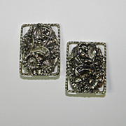 Vintage Sarah Coventry SilverTone Rectangular Earrings ANTIQUE GARDEN Floral Motif