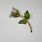 Vintage Giovanni Pink and Green Enamel Long Stem Rose Brooch Pin