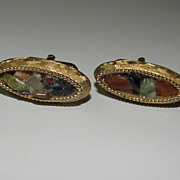 Vintage Swank Oval Gold Tone Cufflinks with 3D Colored Stones