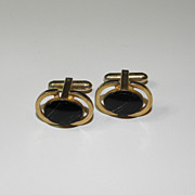 Vintage Gold Tone Oval Cufflinks with Black Stone and Shimmery Gold Stripes