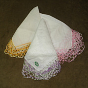 3 Large Vintage Pure Irish Linen Handkerchiefs Hankies with Extra Wide Colorful Tatted Lace Ed