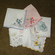 5 Vintage New with Tag Swiss Embroidered and Appliqued Handkerchiefs Hankies