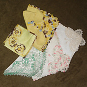 SOLD Lot of 5 Irish Linen Handkerchiefs Hankies with Tatted Ornate Corners