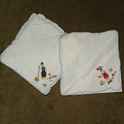 Pair of Vintage Embroidered Boy and Girl Handkerchiefs Hankies