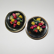 Vintage Western Germany Painted Bouquet Earrings