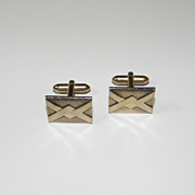 Vintage Swank Textured Gold Tone Cufflinks