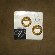 Vintage Gold Tone Lingerie Clips with Original Packaging