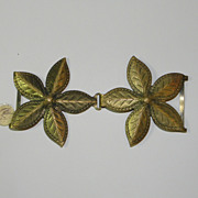 Vintage Brass Colored Flower Light Weight Belt Buckle