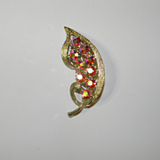 Vintage Gold Tone Leaf with Red Iridescent Rhinestones Brooch Pin
