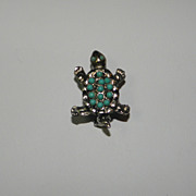 Vintage SilverTone Tiny Turtle with Turquoise Colored Beads