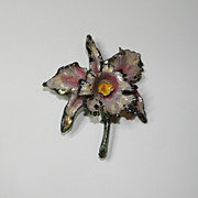 Vintage 1930's-1940's Pink Iris Painted Luster Brooch Pin