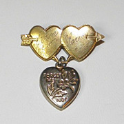 Vintage WWII Era GoldTone Sweetheart Brooch Pin with Puffy Heart Charm
