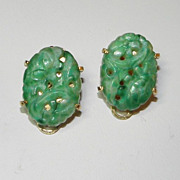 Vintage Marvella Peking Glass Molded to Look Like Jade Earrings