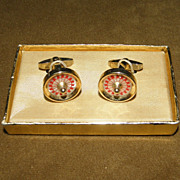 Vintage Foster Gold Tone Roulette Wheel Cufflinks