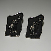 Vintage Swank Large Silver Tone Wino Drunk Man in Shadow Box Cufflinks