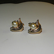 Vintage Swank Gold Tone Fish with Faux Pearl Cufflinks