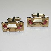 Vintage Gold Tone Table and Chairs with Mother Of Pearl Cufflinks