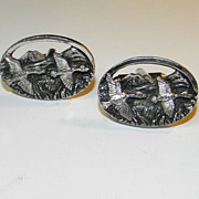 Vintage Silver Tone Large Flying Ducks Over Mountain Landscape Oval Cufflinks