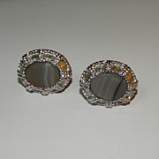 Vintage Silver Tone Roped Cufflinks with Grey Glass Stone Made to Look Like Agate