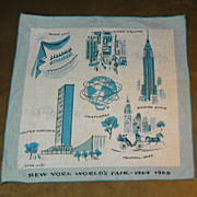 Vintage Jeanne Miller New York World's Fair 1964-1965 Handkerchief Hanky