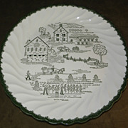Vintage 1954 Countryside by Royal, USA Fall Chop Plate with Pennsylvania Dutch Harvest Scene