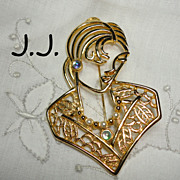 Vintage Large J.J. Jonette Jewelry Lady Brooch