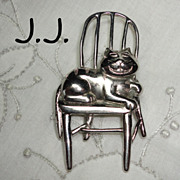 Vintage J.J. Grinning Cheshire Cat on a Chair Brooch