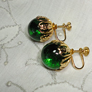 Vintage Green Glass Orb Earrings Screw Backs