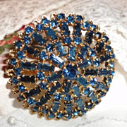 Vintage Blue Sapphire Rhinestone Brooch Pin