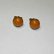 Vintage Swank Burnt Orange Round Stone Gold Tone Cufflinks