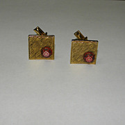 Vintage Celebrity NY Textured Gold Tone Cufflinks with Designed Red Bead