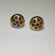 Vintage Textured Gold Tone Dome-like Cufflinks with Blue Interior