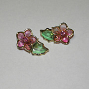 Vintage Coro Poured Glass Pink Flower with Green Leaf Earrings