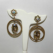 Vintage Dangling Hoop Earrings with Iridescent Beads and Intricate Flower Designs