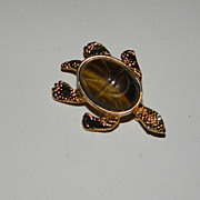 Vintage Gold Tone Turtle with Brown Scarab Brooch Pin