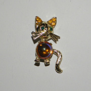 Vintage SilverTone Cat Brooch Pin with Rhinestones and Orange Glass Belly