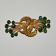 Vintage Trifari Gold Tone with Green Rhinestones Brooch Pin