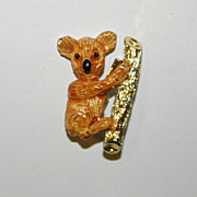 Vintage Gerrys Enameled Koala Bear in a Tree Brooch Pin
