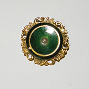 Vintage Freirich Small Dark Green with Intricate Gold Tone Pin Brooch