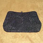 Vintage Sharonee Small Black Hand Beaded Clutch Bag