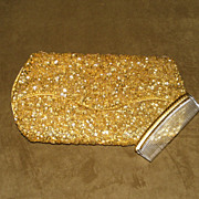 Vintage Sharonee Large Gold Hand Beaded Clutch Bag with Matching Comb