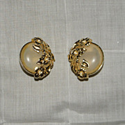 Vintage Richelieu Large Round Gold Tone Floral Earrings