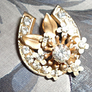 Vintage Lucky Horseshoe Rhinestone & Enamel Flower Brooch Pin