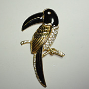 Vintage Black Enamel Toucan Parrot Brooch with Rhinestone Accents