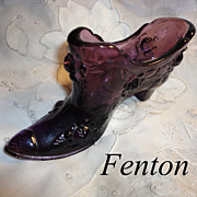 Vintage Purple Fenton Glass Slipper Shoe Floral