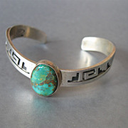 Vintage Navajo Sterling Turquoise Cuff by EMT Navajo Artists