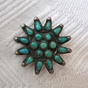 SOLD Zuni Brooch 1940s Vintage Green Turquoise in Silver American Indian Jewelry